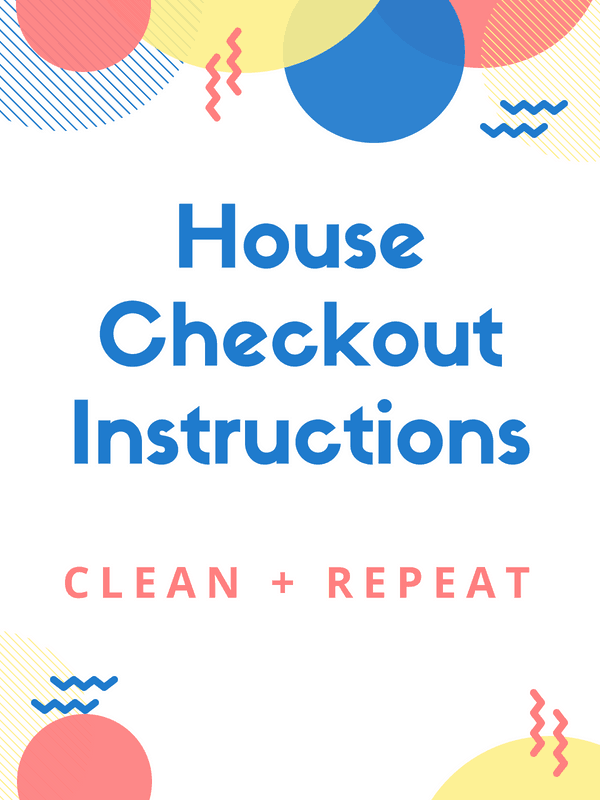 Image of HOUSE CHECKOUT INSTRUCTIONS